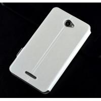 Текстурный чехол флип подставка с магнитной застежкой для Sony Xperia E4 Белый