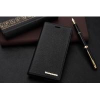 Кожаный чехол горизонтальная книжка с отделением для карт для Sony Xperia M2 Aqua Черный