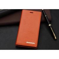 Кожаный чехол горизонтальная книжка с отделением для карт для Sony Xperia M2 Aqua Оранжевый
