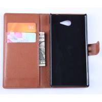 Кожаный чехол портмоне горизонтальная книжка с магнитной застежкой для Sony Xperia M2 Aqua Коричневый