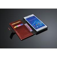Чехол портмоне горизонтальная книжка с крепежной застежкой вощеная кожа для Sony Xperia M2 Aqua