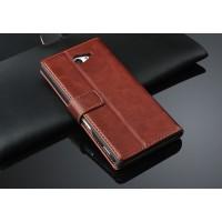 Чехол портмоне горизонтальная книжка с крепежной застежкой вощеная кожа для Sony Xperia M2 Aqua Коричневый