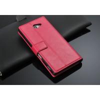 Чехол портмоне горизонтальная книжка с крепежной застежкой вощеная кожа для Sony Xperia M2 Aqua Розовый