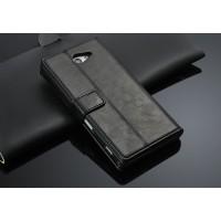 Чехол портмоне горизонтальная книжка с крепежной застежкой вощеная кожа для Sony Xperia M2 Aqua Черный