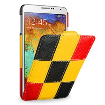 Кожаный чехол вертикальная книжка (нат. кожа) ручной работы серия Squares для Samsung Galaxy Note 3