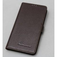 Кожаный чехол горизонтальная книжка (нат. кожа) для Lenovo P780 Коричневый