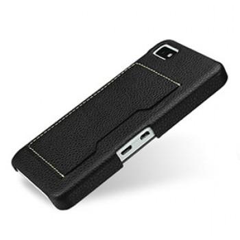 Дизайнерский кожаный чехол накладка (нат.к ожа) с отделением для карт для BlackBerry Z10