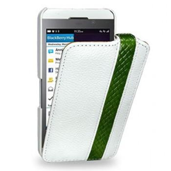 Эксклюзивный кожаный чехол книжка вертикальная (2 вида нат. кожи) ручной работы для BlackBerry Z10