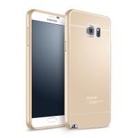 Двухкомпонентный чехол с металлическим бампером и поликарбонатной накладкой для Samsung Galaxy Note 5 Бежевый