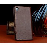 Кожаный чехол-портмоне для Sony Xperia T3 Коричневый