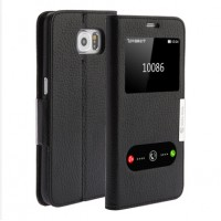 Кожаный чехол флип подставка с окном вызова и свайпом для Samsung Galaxy Note 5