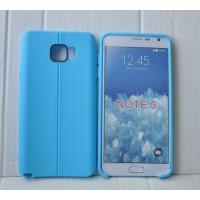 Силиконовый матовый непрозрачный чехол дизайн Нити для Samsung Galaxy Note 5 Синий