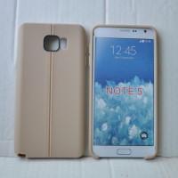 Силиконовый матовый непрозрачный чехол дизайн Нити для Samsung Galaxy Note 5 Бежевый