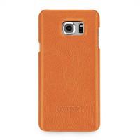 Кожаный чехол накладка (нат. кожа) серия для Samsung Galaxy Note 5 Оранжевый