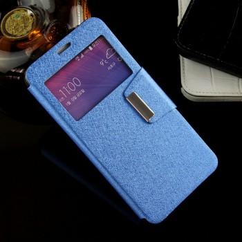 Текстурный чехол флип подставка с окном вызова и магнитной застежкой на силиконовой основе для Samsung Galaxy Note 5