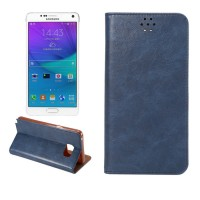 Чехол флип подставка на силиконовой основе с отделением для карты для Samsung Galaxy Note 5 Синий