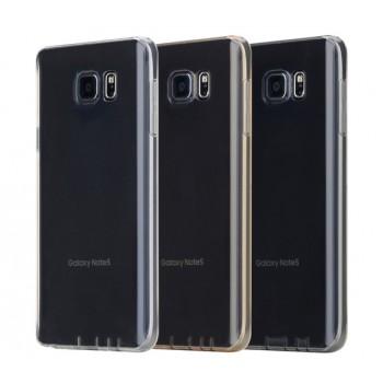 Силиконовый матовый полупрозрачный чехол повышенной ударостойкости для Samsung Galaxy Note 5