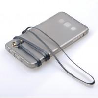 Силиконовый матовый полупрозрачный чехол с шнурком для Samsung Galaxy A7