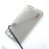 Силиконовый матовый полупрозрачный чехол с кожаным шнурком для Huawei Honor 6 Plus Черный