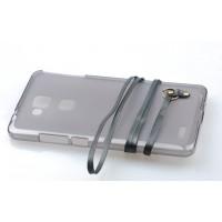 Силиконовый матовый полупрозрачный чехол с шнурком для Huawei Ascend Mate 7 Черный