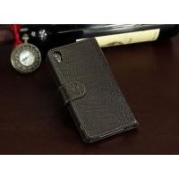 Кожаный чехол портмоне (нат. кожа крокодила) для Sony Xperia Z3+ Коричневый