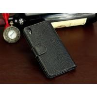 Кожаный чехол портмоне (нат. кожа крокодила) для Sony Xperia Z3+ Черный
