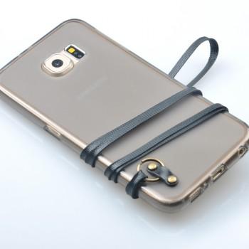 Силиконовый матовый полупрозрачный чехол с шнурком для Samsung Galaxy S6