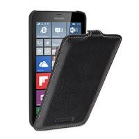 Кожаный чехол вертикальная книжка (нат. кожа) с крепежной застежкой для Microsoft Lumia 640 XL Черный