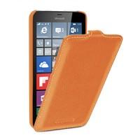 Кожаный чехол вертикальная книжка (нат. кожа) с крепежной застежкой для Microsoft Lumia 640 XL Оранжевый