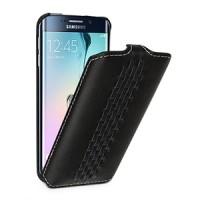 Эксклюзивный кожаный чехол вертикальная книжка (нат. кожа) ручной работы с дизайнерским плетением и крепежной застежкой для Samsung Galaxy S6 Edge (изготовление на заказ)