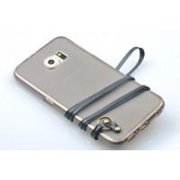 Силиконовый матовый полупрозрачный чехол с шнурком для Samsung Galaxy S6 Edge Черный