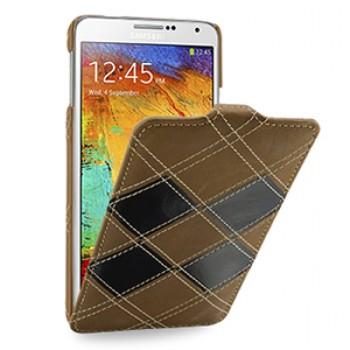 Кожаный чехол вертикальная книжка (2 вида нат. кожи) ручной работы с крепежной застежкой для Samsung Galaxy Note 3