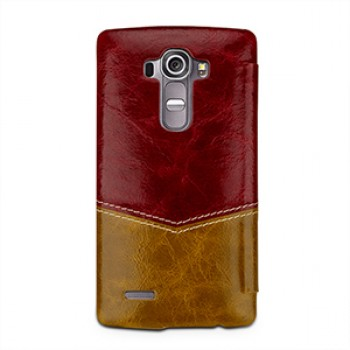 Кожаный смартчехол горизонтальная книжка (2 вида нат. кожи) с круглым окном вызова для LG G4