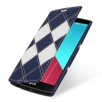 Эксклюзивный кожаный чехол горизонтальная книжка (2 вида нат. кожи) серия Rhombes для LG G4