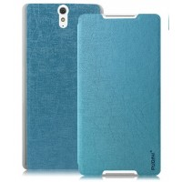 Текстурный чехол флип подставка на присоске для Sony Xperia C5 Ultra Голубой