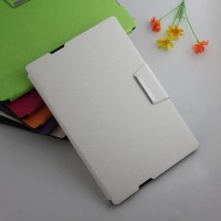 Текстурный чехол подставка с внутренними отсеками и магнитной застежкой на силиконовой основе для Sony Xperia Z4 Tablet Белый