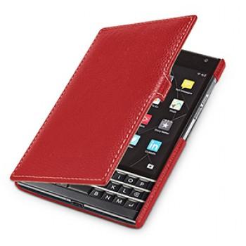 Кожаный чехол горизонтальная книжка (нат. кожа) с крепежной застежой для Blackberry Passport