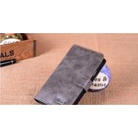 Винтажный чехол портмоне на пластиковой основе с защелкой для Samsung Galaxy Grand Серый