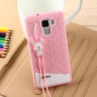 Силиконовый дизайнерский фигурный чехол для Huawei Honor 7 Розовый