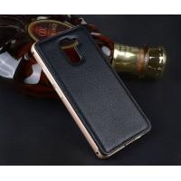 Двухкомпонентный чехол с металлическим бампером и кожаной накладкой для Huawei Honor 7