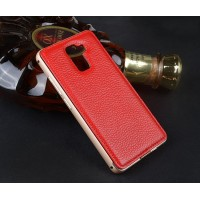 Двухкомпонентный чехол с металлическим бампером и кожаной накладкой для Huawei Honor 7 Красный