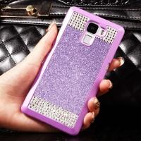 Пластиковый матовый чехол с повышенной шероховатостью и стразами для Huawei Honor 7 Фиолетовый
