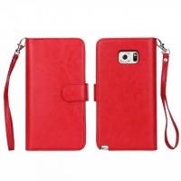 Чехол портмоне с крепежной застежкой на силиконовой основе для Samsung Galaxy Note 5 Красный