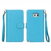 Чехол портмоне с крепежной застежкой на силиконовой основе для Samsung Galaxy Note 5 Голубой