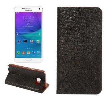 Чехол горизонтальная книжка подставка с отделением для карт и тканевым покрытием Змея на силиконовой основе для Samsung Galaxy Note 5