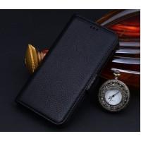 Кожаный чехол портмоне (нат. кожа) для Samsung Galaxy Note 5 Черный