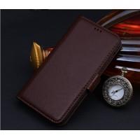 Кожаный чехол портмоне (нат. кожа) для Samsung Galaxy Note 5 Коричневый