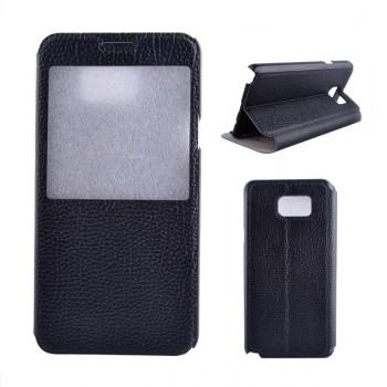 Чехол флип подставка на пластиковой основе с окном вызова для Samsung Galaxy Note 5