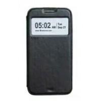 Чехол флип подставка на силиконовой основе с окном вызова и отделением для карт для Samsung Galaxy Note 5 Черный