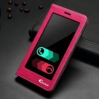 Чехол флип подставка на пластиковой основе с полноразмерным окном вызова для Huawei Honor 7 Розовый